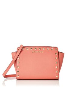 Michael Kors Selma Leather Studded Medium Messenger Pink Grapefruit      Check out this great 452e12ebe2d