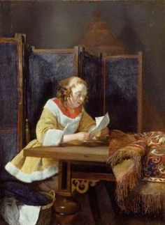 A Lady Reading a Letter Artwork by Gerard ter Borch the Younger
