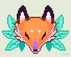 'Pixel Fox' Sticker by carbatine Anime Pixel Art, Art Anime, Pixel Art Templates, Perler Bead Templates, Perler Patterns, Pearler Bead Patterns, Animal Crossing, Pixel Art Grid, Minecraft Pixel Art
