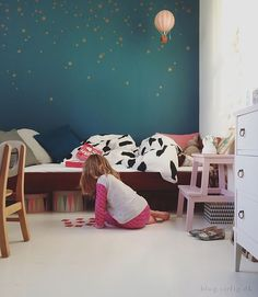 My daughters new painted room - the dark petrol is perfect with the copper stars from my webshop sirlig.dk #kidsroom #petrol #wall #stars