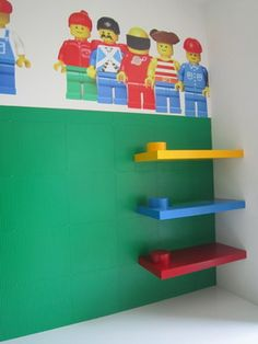 Lego Room Design Ideas, Pictures, Remodel, and Decor - page 5 Lego Bedroom, Bedroom Themes, Kids Bedroom, Boy Bedrooms, Bedroom Ideas, Lego Shelves, Room Shelves, Lego Room Decor, Casa Lego