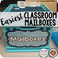 """I've been using a """"mailbox"""" like this since I started teaching. At first it was because I was broke and this was a cheap alternative. Now it's because they work so well that I don't want to spend the money on the fancy ones! Simply put a hanging file and a Manila folder for each student and voila! Quick and easy mailboxes. Needless to say, I always have a few sweet fifth graders that jump at the opportunity to file the papers!"""