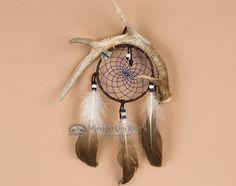 "Native Navajo Indian Antler Dream Catcher 4"" -Blue (dc4-12)"