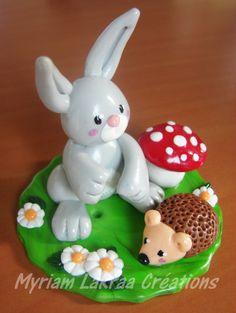PAQUES - Lapin, hérisson, champignon, petites fleurs - Pâte polymère Fimo (polymer clay) - 2013 - Myriam Lakraa Créations