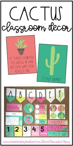 Are you thinking about a cactus theme in your classroom? This Cactus Decor Set is editable and uses beautiful, calming colors!