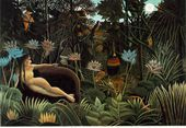 Henri Rousseau was one of my first favorite painters going back to when I was a teenager.  I love his primitive style and use of color and form.    The Dream - Henri Julien  Rousseau - www.henrirousseau.org