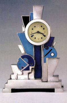 Art Deco Jean Goulden clock - 1928 - Silvered bronze and champlevéenamel - Christie's