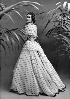 Anne Gunning in polka dot organza gown edged in lace by Pierre Balmain, photo by Philippe Pottier, 1952