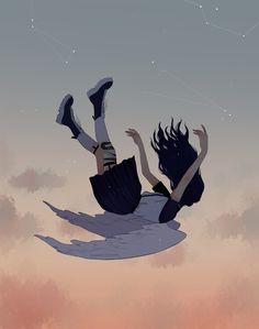 Falling dreams, an art print by zeebythesea_
