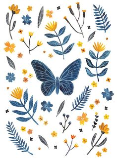 Blue Butterfly with yellow flowers Art Print by AmeliaHerbertson, $15.00