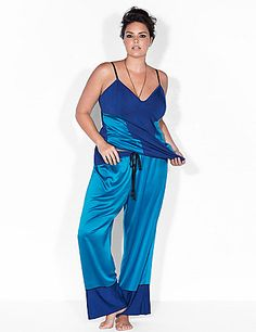 Romantic hues of blue in sleek satin and ultra-soft modal make Sophie Theallet's sleep pant a luxurious upgrade to your downtime. Pull-on style with an elastic waist and drawstring. lanebryant.com - perfect for that beach vacation or with the wrap sweater.
