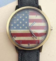 Denim Style Strap - US Flag Face Wristwatch #denim #starspangledbanner #usa #america #watches #wrist #wristwatch #xmas #present #christmas #quirky http://m.ebay.co.uk/itm/Denim-Style-Strap-Quirky-Women-Wrist-Watch-USA-Flag-Face-Xmas-Ladies-America-/282160028549?nav=SELLING_ACTIVE