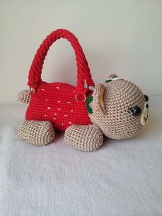 Teddy Bear cherry Handmade crochet handbag by Crochet Handbags, Crochet Purses, Crochet For Kids, Knit Crochet, Animal Bag, Tsumtsum, Girls Bags, Handmade Bags, Straw Bag