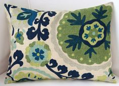 Suzani Pillow Cover Blue Green Decorative Pillow by nestables