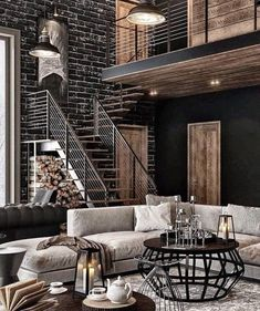 Inspirations for luxurious loft apartment decor - modern and contemporary interior design pro. Inspirations for luxurious loft apartment decor - modern and contemporary interior design projects Modern Industrial Decor, Industrial Interior Design, Industrial Interiors, Contemporary Interior Design, Industrial House, Luxury Interior, Luxury Furniture, Modern Design, Industrial Style