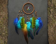 Rainbow dreamcatcher colourful wall hanging room decor chakra natural gemstones dream catcher