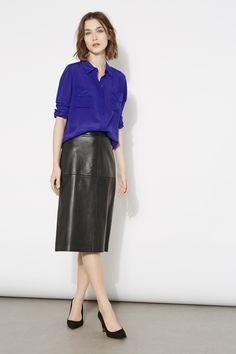 Isla Silk Shirt  www.wishbone.co.uk Leather Skirt, Silk, Skirts, Outfits, Collection, Fashion, Feminine, Clothing, Moda