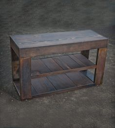 Reclaimed Wood & Metal Bench with Shelf by A+R Busch on Scoutmob Shoppe. The bottom is mill-finished steel, perfect for storing shoes, books, etc. A stunner.