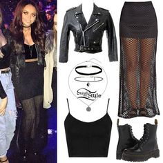Jesy Nelson visited the X-Factor studios a couple of days ago with her bandmates wearing a Strappy Seam Bralet ($16.00), her favourite Vintage Cropped Leather Jacket (sold out), a Ying Yang Choker ($15.00) and an Engraved Circular Charm Necklace ($22.00), all from Topshop, a H&M Perforated Maxi Skirt (available in-store only), a black choker like this from River Island ($10.00) and a pair of Dr. Martens Jadon Boots ($170.00). You can get a similar skirt from Forever 21 ($17.36, pictured).