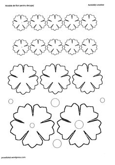 model floare13 Felt Flowers, Diy Flowers, Fabric Flowers, Paper Flowers, Felt Flower Template, Paperclip Bookmarks, Dremel Carving, Templates Printable Free, Printables