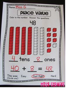 Awesome blog post all about how to differentiate your place value lessons with lots of place value centers, worksheets, and other goodies!!
