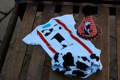 First Birthday Party Hat Cow Print Red White by LittleStitchinLu, $15.50