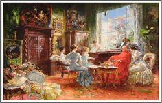 Salvador Sanchez-Barbudo (1857-1917), La Jeune Pianiste - 1908
