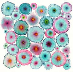Turquoise Pink Large Abstract Print Canvas - Circles - Flowers - Colorful - Blooms 6 Turquoise. £145.00, via Etsy.