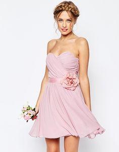 ASOS WEDDING – Kurzes Bandeau-Kleid aus Chiffon mit abnehmbarem Blumengürtel
