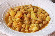 Cocinando entre Olivos: Garbanzos con choco y langostinos. Paso a paso.