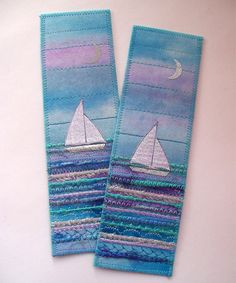 beautiful bookmarks by Aileen Clarke - if I make them a bit wider I have a fabric post card ; Fabric Cards, Fabric Postcards, Small Quilts, Mini Quilts, Quilting Projects, Sewing Projects, Pocket Letter, Felt Bookmark, Crochet Bookmarks