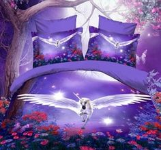 Alicemall Unicorn Bedding Purple Bedding Set Dreamlike Flying Horse with Wings Purple Polyester Bed Set, 4 Pieces, Duvet Cover, Bed Sheet and 2 Pillow Cases (Full)