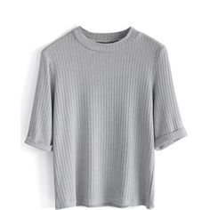 Chicwish Ribbed Mid-sleeves Knit Top in Grey ($34) ❤ liked on Polyvore featuring tops, t-shirts, shirts, t shirts, grey, grey tee, rib t shirt, knit shirt, ribbed shirt et sleeve shirt
