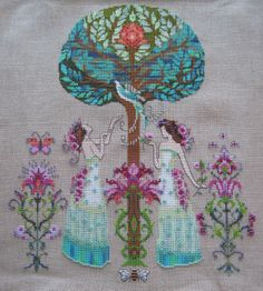 "point de croix femmes style fées - cross stitch fairies girls.  Mirabilia pattern ""Tree of Hope"", MD109"