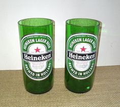 Heineken Beer Bottles Repurposed into 16 oz pint glasses. One day left to ship for Father's Day. Pinterest followers save 10% off any item in my shop. Use coupon code: PINTEREST at checkout. $15.00