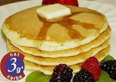 Low carb pancakes with Carbquick Low-Carb Baking Mix recipe video. CarbQuik pancakes are a great substitute for your Low-Carb lifestyle. You're not going to want to have Low-Carb pancakes eve… No Carb Recipes, Atkins Recipes, Primal Recipes, Low Carb Pancakes, Low Carb Breakfast, Breakfast Recipes, Pancake Recipes, Keto Foods, Paleo Meals