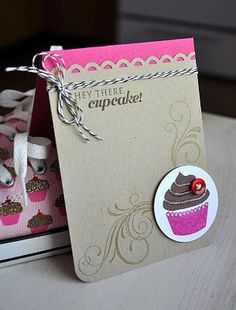 Delightfully sweet, chic, lovely pink and craft cupcake card. #cupcakes #card #handmade #scrapbooking #pink #paper_crafts