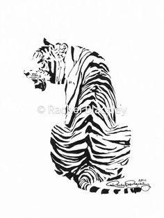 Sitting Tiger  Ink Sketch Ink Drawing Pen and Ink Black