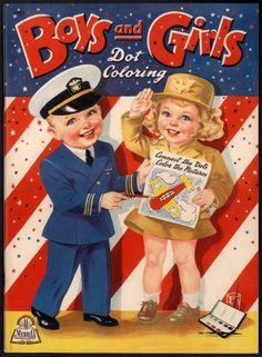 "Uncolored ""Boys and Girls Dot Coloring"" 3421 Merrill 1943 1807 