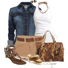Denim Jacket & Shorts, created by ccroquer on Polyvore