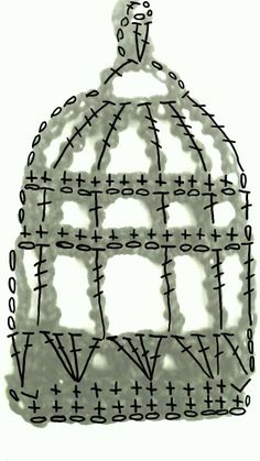 crochet bird cage diagram shown here over the motif