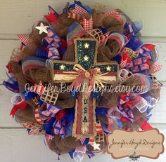 Burlap Cross Flag Patriotic USA Red, White, and Blue Deco Mesh Wreath - Fourth of July, Support Our Troops Burlap Wreaths, Burlap Ribbon, Deco Mesh Wreaths, Patriotic Wreath, Patriotic Decorations, 4th Of July Wreath, Burlap Door Hangings, Paper Mesh, Burlap Cross