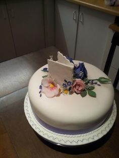 Purple and Pink 60 years cake - from back of the birthday card