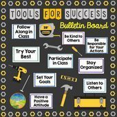 """This is a bulletin board set that allows you to showcase the """"Tools for Success"""" necessary for your classroom. It's a great back to school bulletin board because it can focus on positive habits and critical classroom expectations. Construction Bulletin Boards, Construction Theme Classroom, Classroom Themes, Classroom Rules, Counseling Bulletin Boards, Office Bulletin Boards, Back To School Bulletin Boards, School Wide Themes, School Nurse Office"""