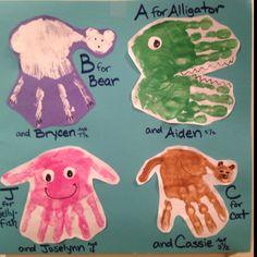 super cute handprint craft to teach letters of the alphabet. Zoo Phonics, Alphabet Activities, Letter Crafts, Letter Art, Vbs Crafts, Crafts To Do, Teaching Letters, Hand Prints, Handprint Art