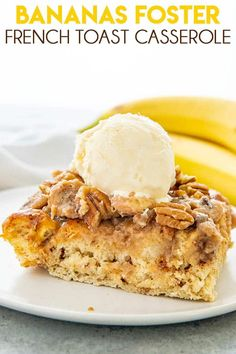 French Delicacies Essentials - Some Uncomplicated Strategies For Newbies Bananas Foster French Toast Casserole Is A Majorly Mouthwatering Breakfast Casserole Made With Cinnamon Rolls, Cream, And A Delicious Banana Topping Brunch Recipes, Breakfast Recipes, Dessert Recipes, Desserts, Breakfast Ideas, Yummy Recipes, Breakfast Dishes, Bananas Foster French Toast, Breakfast