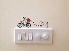Cute-and-Creative-Home-Switchboard-Art-Installation You must be so used to turning switches on and off that you hardly notice them. You can turn them into cute and creative home switchboard art installations. Simple Wall Paintings, Creative Wall Painting, Wall Painting Decor, Creative Walls, Diy Wall Art, Diy Wall Decor, Creative Decor, Creative Ideas, Creative Home
