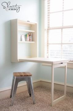 If you're hard-up for space, make your own Murphy Desk. It can also be used as a small dining table in a studio apartment. Get the how-to VIA Shanty 2 Chic. Table For Small Space, Small Space Office, Small Dining, Furniture For Small Spaces, Small Desks, Expand Furniture, Small Space Organization, Desk Organization, Organizing Ideas