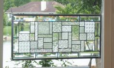More options -- Beveled clear transom stained glass panel window geometric abstract stained glass window panel window hanging large CT1 on Etsy, $189.00