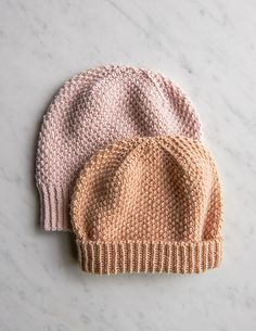 A hat that feels as good as it looks, the Fluffy Brioche Hat is an free knit hat pattern that reminds us of a toasted pastry. Baby Knitting Patterns, Baby Hats Knitting, Easy Knitting, Knitted Hats, Crochet Hats, Kids Knitting, Cable Knitting, Textiles, Purl Soho